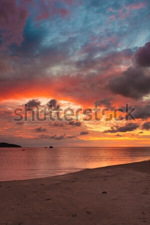 Colorful majestic sunset at sand beach borneo Stock photo © Juhku