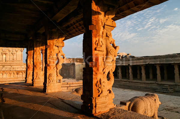 Beautiful ruins in hampi at sunset Stock photo © Juhku
