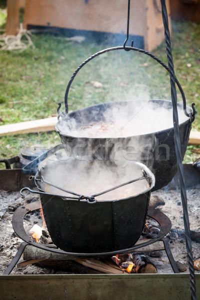 Leves főzés középkori edény egészséges tűz Stock fotó © Juhku