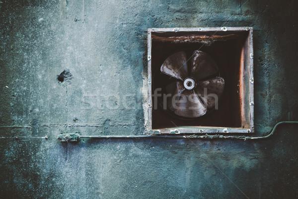 Verlaten airconditioning fan fabriek grunge Stockfoto © Juhku