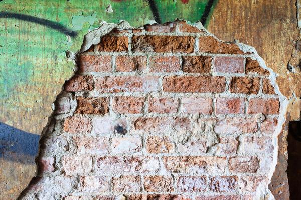 Foto stock: Sujo · concreto · parede · grafite · grande · rachar