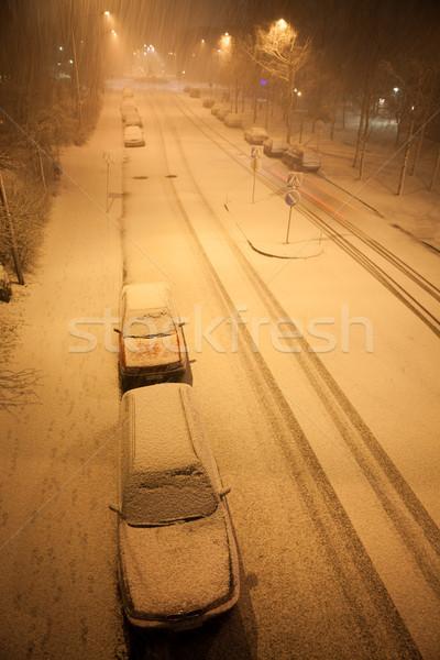 Kar yağışı boş yol gece banliyö ışık Stok fotoğraf © Juhku