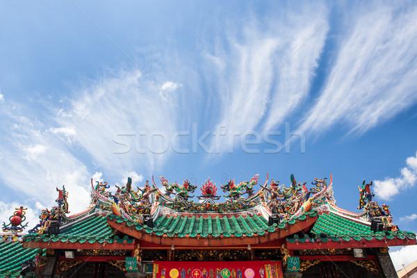 Stok fotoğraf: Çin · tapınak · çatı · mavi · gökyüzü · bulutlar · Bina