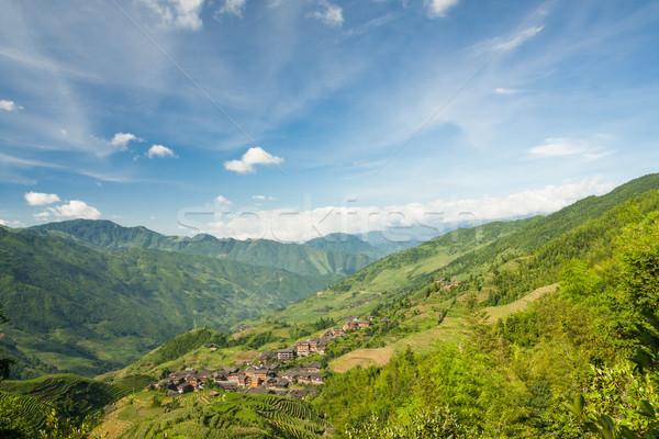 Paisaje foto arroz pueblo China meridional Foto stock © Juhku