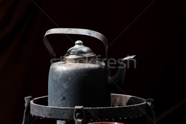 Eski siyah kahve pot açık havada Metal siyah Stok fotoğraf © Juhku