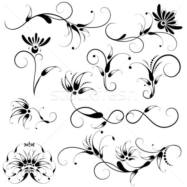 Szett dekoratív virágmintás terv elemek gyűjtemény Stock fotó © jul-and