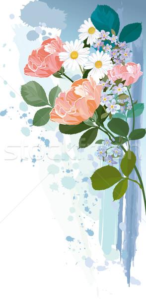 Virágcsokor virágok grunge szerkeszthető virág rózsa Stock fotó © jul-and