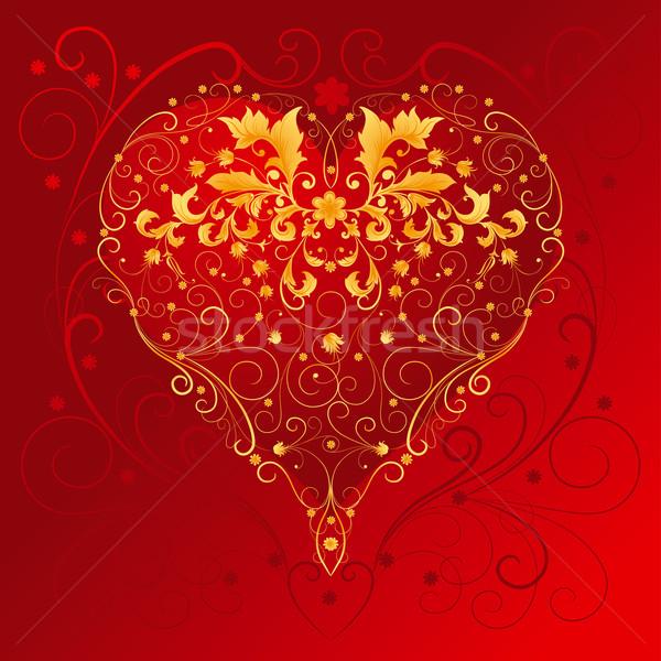 Dísz szív dekoratív arany piros szerkeszthető Stock fotó © jul-and
