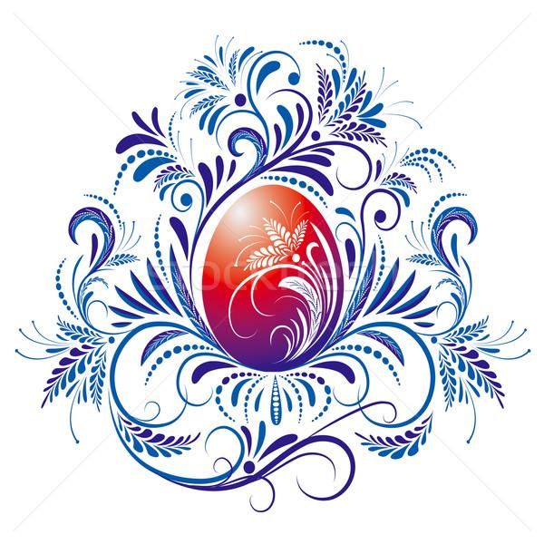 Ovo de páscoa vermelho ovo azul ornamento Foto stock © jul-and