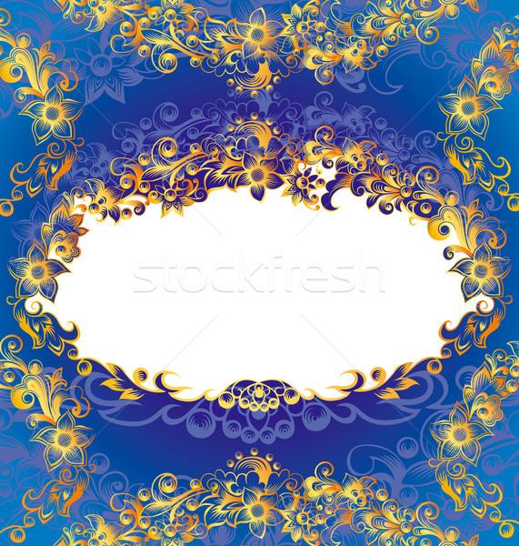 Dekoratív kék virágmintás keret arany szerkeszthető Stock fotó © jul-and