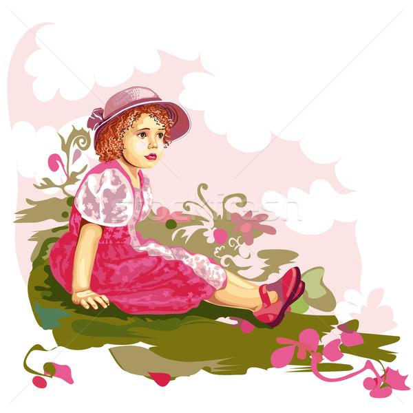 Zdjęcia stock: Dziecko · kwiat · łące · dziewczyna · trawy