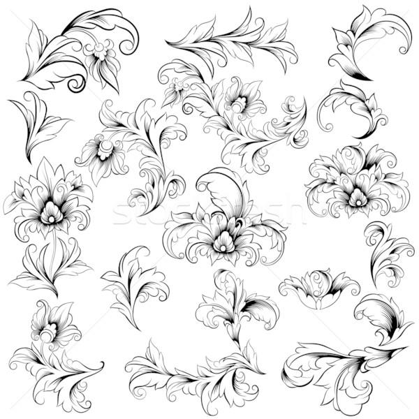 Szett klasszikus virágmintás terv elemek gyűjtemény Stock fotó © jul-and
