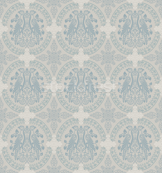 Classic Floral Wallpaper With Heraldic Eagles Stock photo © jul-and