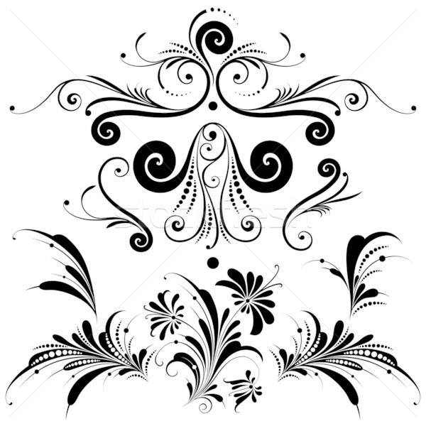 Szett dekoratív terv elemek gyűjtemény fehér Stock fotó © jul-and