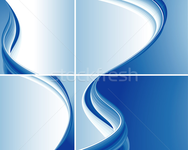 Set Of Blue Abstract Wave Backgrounds Stock photo © jul-and