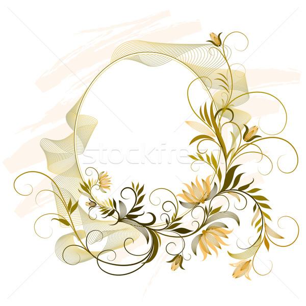 Dekoratív keret virágmintás dísz szerkeszthető absztrakt Stock fotó © jul-and