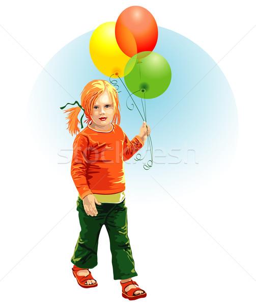 çocuk renkli mutlu yeşil yürüyüş kırmızı Stok fotoğraf © jul-and