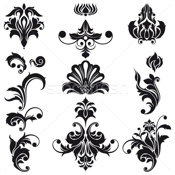 Dekoratív virágmintás terv elemek szett szerkeszthető Stock fotó © jul-and