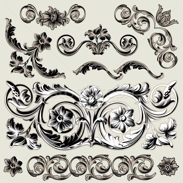 набор классический цветочный украшение Элементы Сток-фото © jul-and