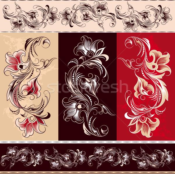 Dekoratív virágmintás dísz elemek szerkeszthető levél Stock fotó © jul-and