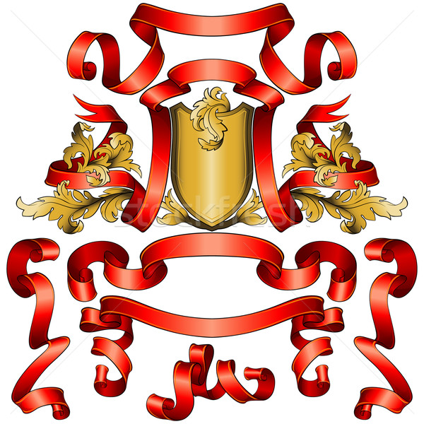 Czerwony banery kolekcja złoty tarcza zestaw Zdjęcia stock © jul-and