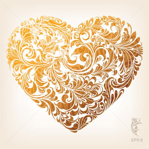 Díszítő arany szív minta virágmintás dísz Stock fotó © jul-and