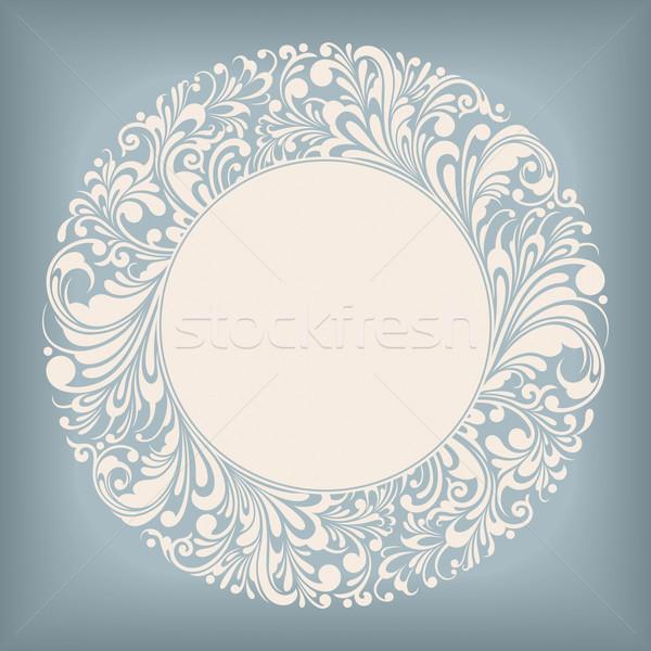 Dísz kör címke keret virágmintás szerkeszthető Stock fotó © jul-and