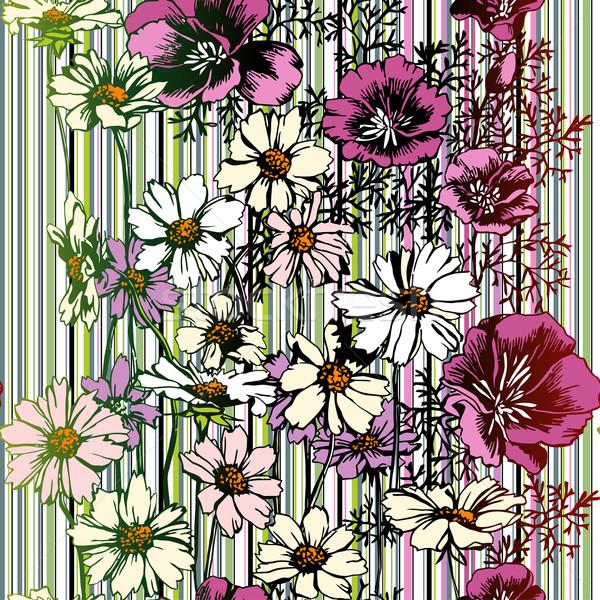 Bezszwowy wzór kwiatowy kwiatowy wzór tapety Zdjęcia stock © jul-and