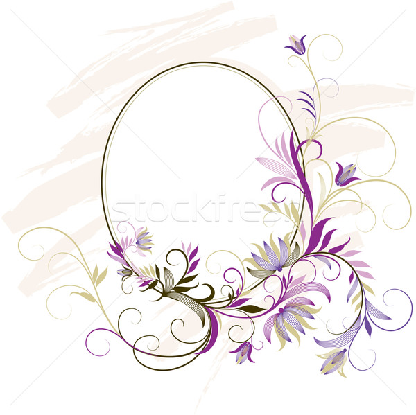 decorative frame with floral ornament vector illustration