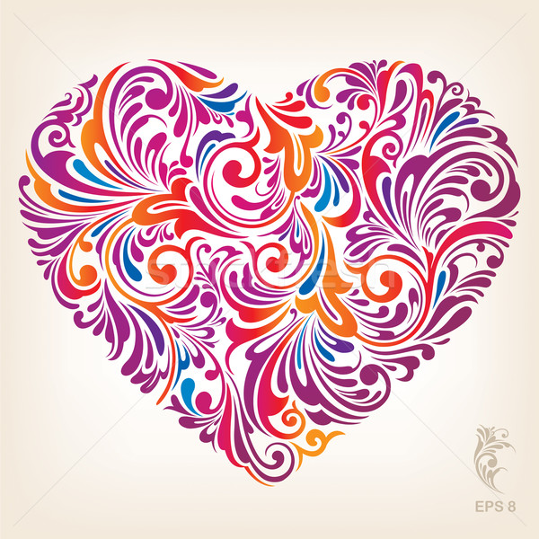 Ornamental Colored Heart Pattern Stock photo © jul-and