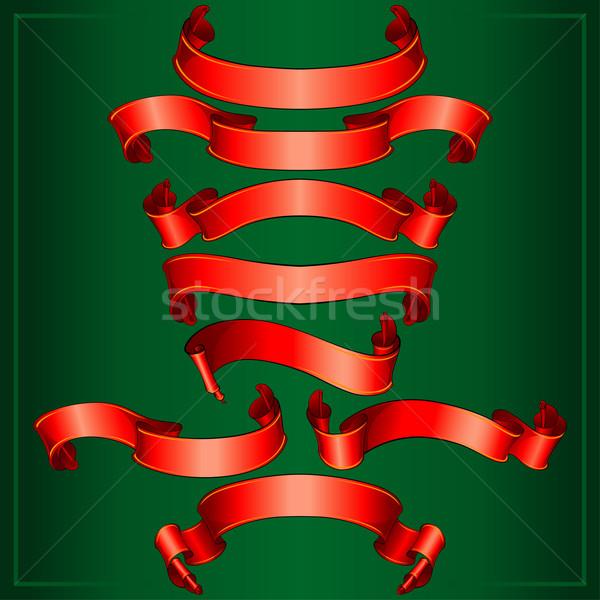 Zdjęcia stock: Czerwony · banery · kolekcja · ciemne · zielone