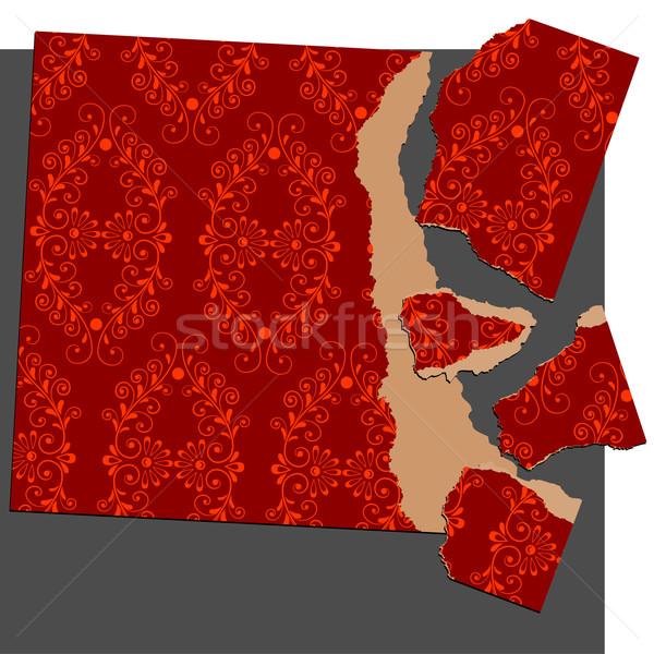 Stock fotó: Szakadt · papír · puzzle · virágmintás · dísz · szerkeszthető · absztrakt