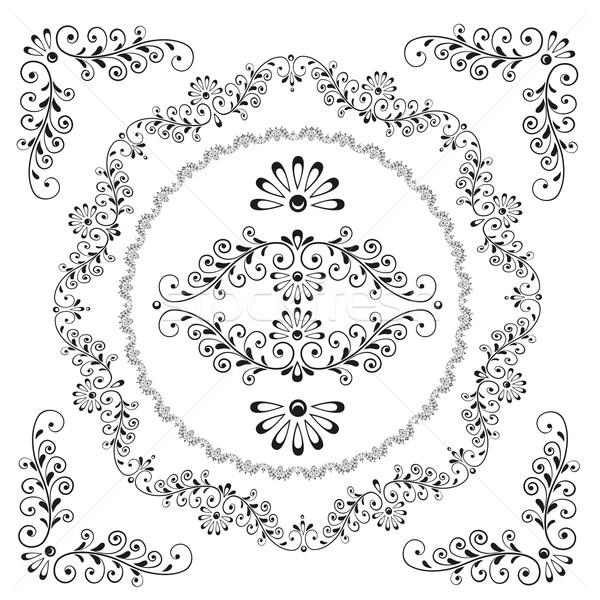 Dekoratív virágmintás terv keret elemek szerkeszthető Stock fotó © jul-and
