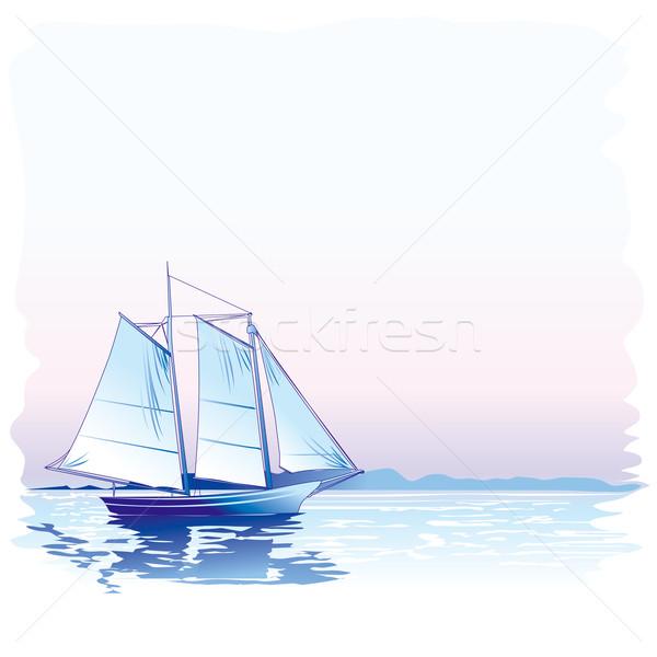 Stock fotó: Vitorlás · hajó · szerkeszthető · kék · utazás · csónak · hajó
