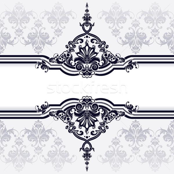 Stock fotó: Klasszikus · dekoráció · tapéta · szerkeszthető · levél · keret