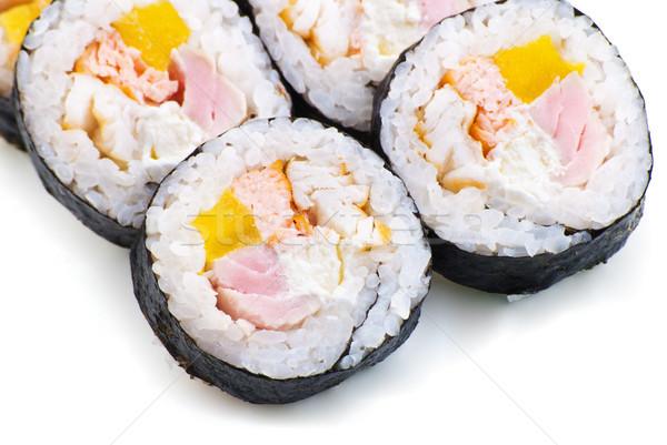 Sushi creme queijo pepino primavera cebola Foto stock © julenochek