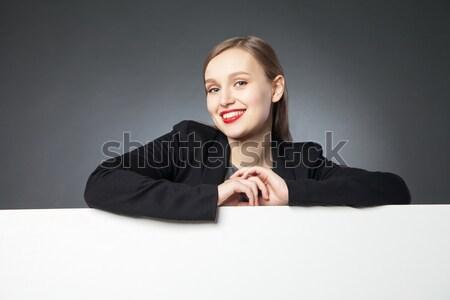 Ritratto donna labbra rosse ampia braccia Foto d'archivio © julenochek