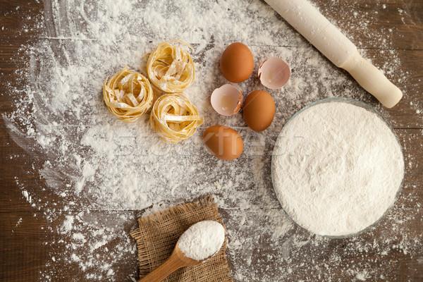 Gasztronómia főzés folyamat finom tojások liszt Stock fotó © julenochek