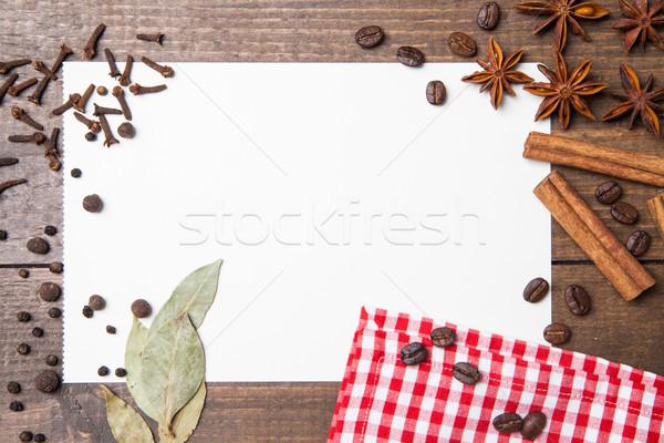 Papír receptek fűszer fa asztal bors levél Stock fotó © julenochek