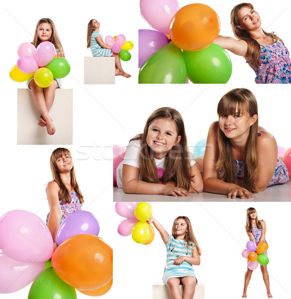 Happy children with balloons celebrating isolated on white Stock photo © julenochek