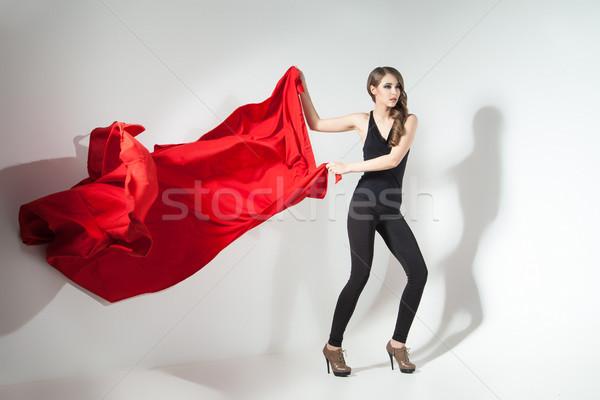 Ragazza rosso panno giovane ragazza Foto d'archivio © julenochek