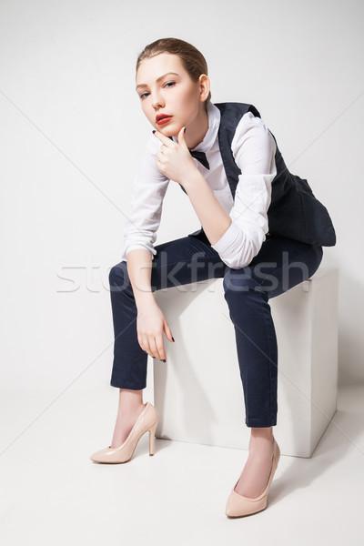 Divat modell fekete nadrág felső csokornyakkendő Stock fotó © julenochek