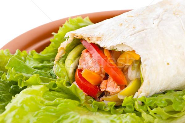 burrito with salmon, peppers and tomato Stock photo © julenochek