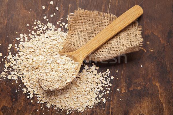 Avena cuchara de madera alimentos salud fondo Foto stock © julenochek