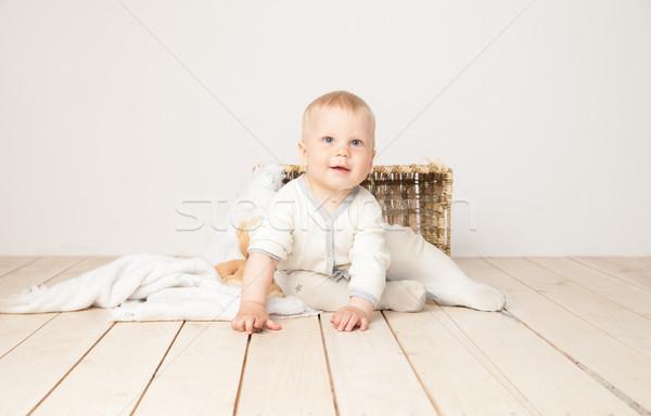 Encantador criança sorridente câmera alegre branco Foto stock © julenochek