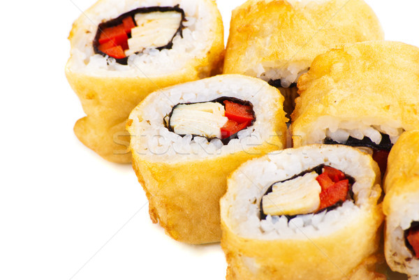 Tempura Maki Sushi or Deep Fried Roll with Paprika Stock photo © julenochek