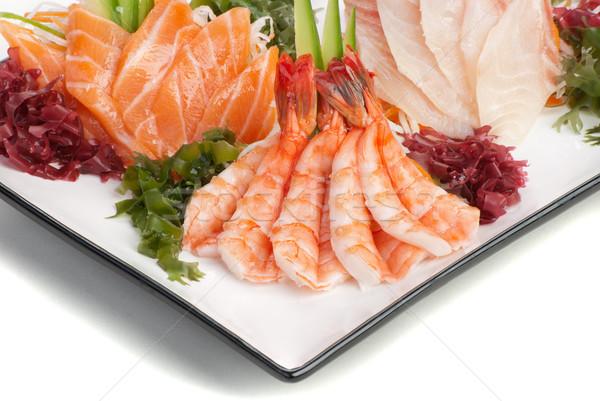 Zestaw sashimi wodorost ogórek biały rzodkiewka Zdjęcia stock © julenochek