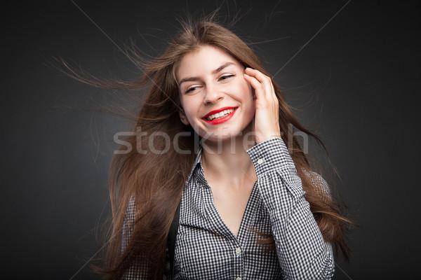 прелестный девушки портрет красная помада губ студию Сток-фото © julenochek