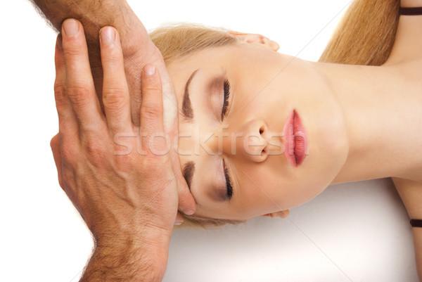 Stockfoto: Jonge · vrouw · hoofd · massage · witte · jonge · heldere