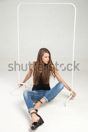 Stock fotó: Vonzó · lány · ül · padló · fehér · vonzó · kaukázusi